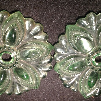 Pair of Depression glass tiebacks