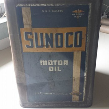 1937 sunoco 5 gallon oil can - Petroliana