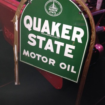 NOS...1957 Quaker State Double Sided Tin Sign With The Original Metal Bracket Still Wraped In Original Paper - Petroliana
