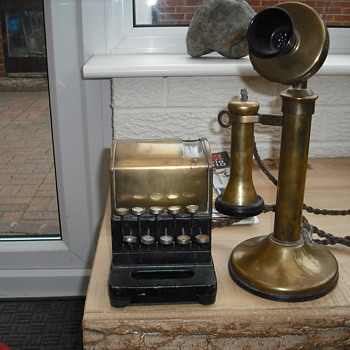 Unknown phone with square brass dialler, identity help please - Telephones