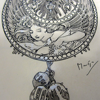 "1900 Alphonse Mucha ""Dessin de Montre"" Jewelry Design Illustration for Georges Fouquet - Art Nouveau"