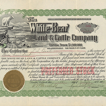 White_Bear Land &amp; Cattle - wonderful vignette! - US Paper Money
