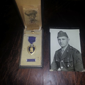 WWII Purple Heart medal issued to my wife's great uncle K.I.A