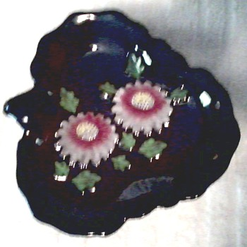 Leaf Shaped Dish with  Hand Painted Mums / Marked Made in Occupied Japan / Circa 1945-1952