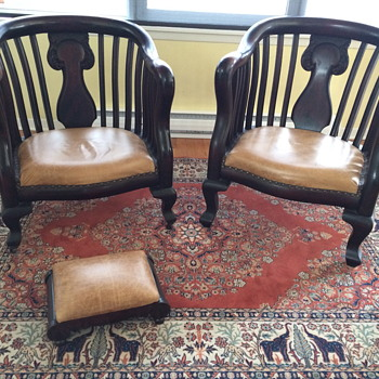 Stunning Mahogany and Leather chairs with ottoman
