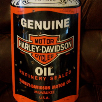 Porcelain Harley Davidson Oil Can Shape Sign - Advertising