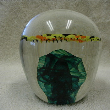 "Signed Dated ""JK 6/o7"" Large Glass paperweight"