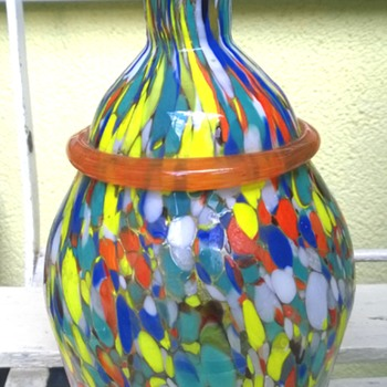 Spatter glass vase - Art Glass