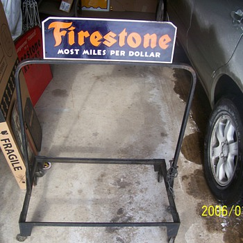 FIRESTONE ROLLING TIRE DISPLAY 1930S - Petroliana