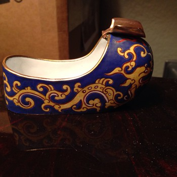 antique oriental shoe ashtray Flip holder