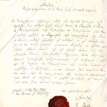 1845 MEMENTO MORI SKULL CROSSBONES ARMORIAL WAX SEAL ON DOCUMENT - Paper