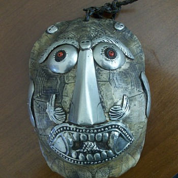 Applied Silver Face on Turtle Shell~Mexican?