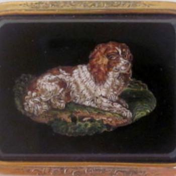 Micro Mosaic Spaniel Dog Brooch Circa 1840
