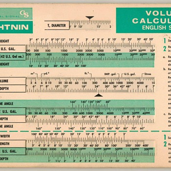 1974 - Tank Volume Calculator Slide-Chart