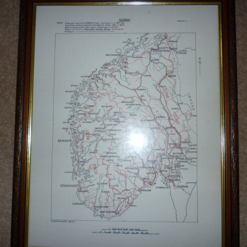 British WW11 silk escape map of Norway.