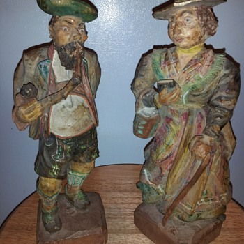 AWESOME HAND CARVED WOOD FIGURES 11""