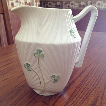 Belleek Shamrock Harp Pitcher - China and Dinnerware