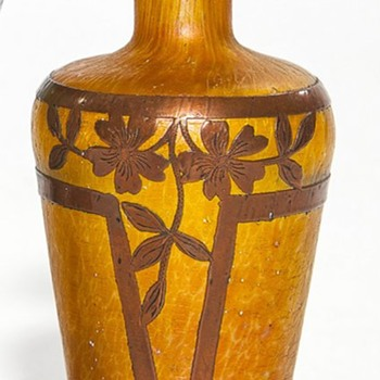 BOHEMIAN VASE WITH UNUSUAL COPPER OVERLAY