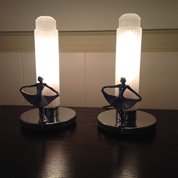 Art Deco Lamps Bullet Frosted Glass - Art Deco