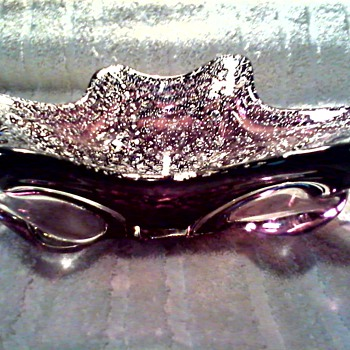 "Beautiful 9 1/2"" Biomorphic Art Glass Bowl / Amethyst Glass with Silver Aventurine / Murano ? Unknown Age"