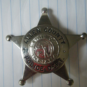 Allen County Police 5 point star ball tipped badge - Medals Pins and Badges