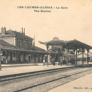 French Train station postcard