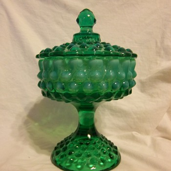 Fenton emerald green opalescent hobnail footed candy dish - Glassware