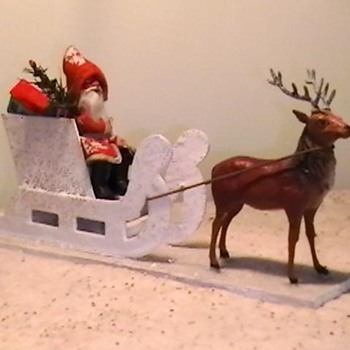 1920&#039;s-1930&#039;s German Putz Santa with Sleigh and Reindeer. - Christmas