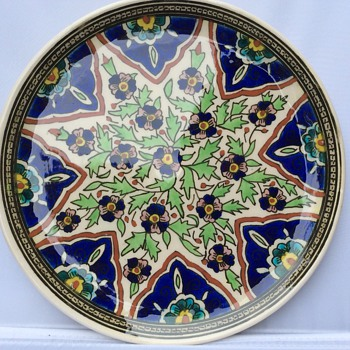 Antique Turkish hand painted plate