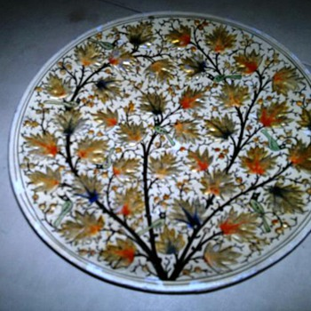 Beautiful   wooden plate- with gold painted leaves with birds