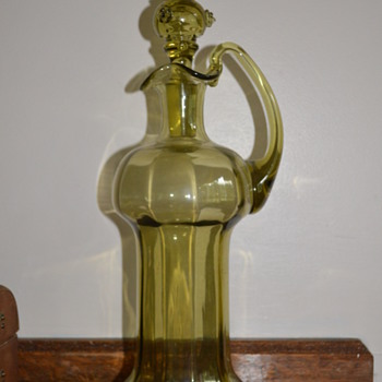 Antique or vintage olive green decanter