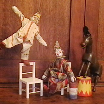 1920's Schoenhut Humpty Dumpty Circus Clowns and Donkey