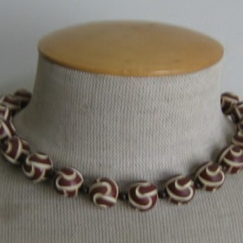 Brown & cream carved celluloid necklace