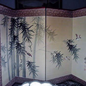 4 panel silk painted screen - Asian