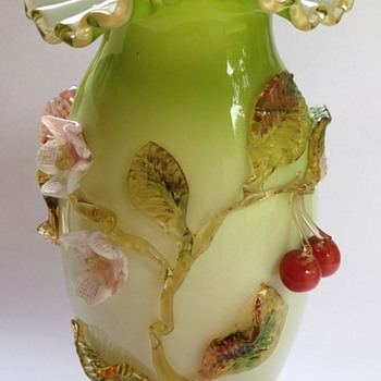 Victorian cased glass vase with applied cherries & flowers