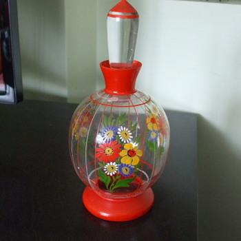 Oh So CZECH! Painted Flowers Perfume Bottle - Bottles