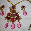 Huge pendent/brooch and clip earrings