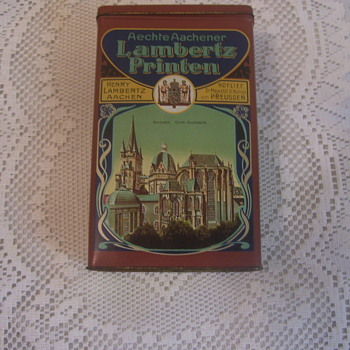GERMAN LARGE TIN,  WITH DEPICTIONS OF ANCIENT  ARCHITECTURAL WONDERS - Advertising
