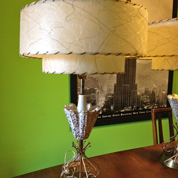 Mid-Century Lamps with Fiberglass Drum Shades