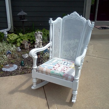 antique wingback cane back rocking chair