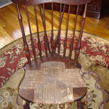 Antique Nichols & Stone Windsor Rush Seat Rocker - Furniture