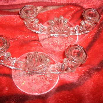 Gorgeous Pair of Crystal Double Candle Holders  - Glassware