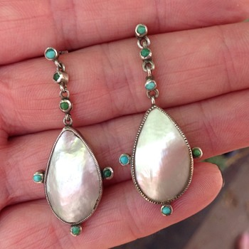 A Pair of Blister Pearl and Turquoise Earrings