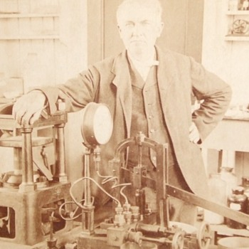 Thomas Edison Stereoview in his Laboratory c. 1901
