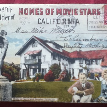 27-Picture Postcard of Movie Stars' Homes in Hollywood, California