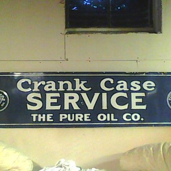 Old Tiolene Pure Oil CrankCase Service Porcelain sign