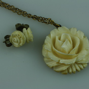 Art deco carved ivory rose pendant and earrings