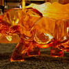 Glass Elephant ~ Top Of Elephant Bealved Cut Contouring Entire Elephant