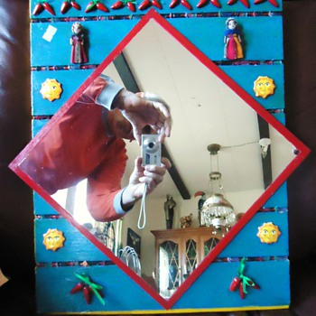 Guatemala Mayan Indian Worry Doll mirror from thrift store - Folk Art