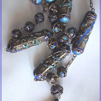 Chinese Antique Vermeil Enameled Filigree Necklace and Pendant about 1900-1920s